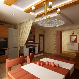 Гостинная-кухня 43.5 кв. м.